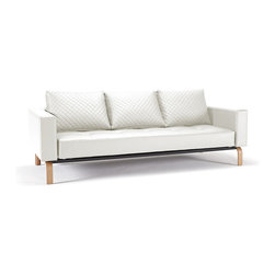 "Innovation USA - ""Innovation"" Cassius Q Deluxe White Leather Sofa Bed / La... - Features:"