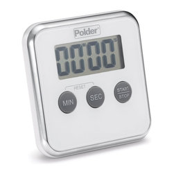 POLDER - Digital Kitchen Timer, White - Add sleek, simple and functional design with our Digital Kitchen Timer which makes your timing easy. This digital kitchen timer has an extra large LCD display which allows for easy reading. A 100-minute countdown capactiy and count-up feature with loud 60 second alarm complete this mountable or tabletop ready timer.