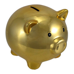 Zeckos - Metallic Gold Ceramic Piggy Bank 5 1/2 In. - This little piggy is made of ceramic and features a reflective metallic finish, making it an eye-catching accent to any room. It measures 4 3/4 inches tall, 5 1/2 inches long, 4 1/2 inches wide, and empties via a plastic plug on the bottom. The little feet are covered with foam pads to protect delicate surfaces, so you can display this piece anywhere in your home. Piggy banks make great baby shower gifts, birthday gifts, and holiday gifts, and this one is sure to be admired by all.