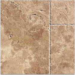 Walnut Chiseled & Brushed Travertine Tiles - THE BACKGROUND COLOR OF GOLDEN BROWN WITH CLOUDS OF CREME AND CHOCOLATE SHOW OFF THE TRUE BEAUTY OF TRAVERTINE.