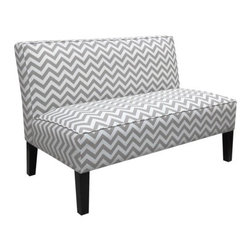 Zigzag Armless Settee, Gray - This fun chevron print is great for a casual kitchen or extra seating in a family room.