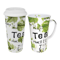 Konitz - Set of 2 Mugs Tea Collage To Stay Mega Mug/To Go Travel Mug - Any time can be tea time - enjoy your daily tea ritual with the Tea Collage To Stay & To Go Mugs. Contemporary tea leaf graphics against black print make this set a must-have for your favorite, freshly-brewed teas. Whether you�re drinking organic green or calming mint, you�ll love our high-quality porcelain, which keeps your beverages hot for long-lasting flavor.
