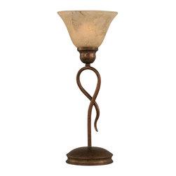 "Toltec - Toltec 35-BRZ-508 Bronze Finish 1-Light Mini Table Lamp - Toltec 35-BRZ-508 Bronze Finish 1-Light Mini Table Lamp with 7"" Italian Marble Glass Shade"