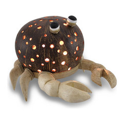 Zeckos - Recycled Coconut Shell and Wood Crab Night Light Accent Lamp - This hand-crafted whimsical crab lamp provides a wonderful accent to your home whether in the bedroom, living room or entryway and is a unique highlight on a sheltered porch perfect to add a fun touch of light! The body is made from a recycled coconut shell with dozens of drilled holes that allow the light to shine through with natural finish wood and rope accents that create this whimsical crab. This 5.5 inch high, 7.5 inch long, 6.5 inch wide (14 X 19 X 17 cm) accent lamp uses one 7 watt night light style bulb (not included), and easily turns on or off via the switch on the 67 inch long cord. It's great as a housewarming gift sure to be enjoyed!