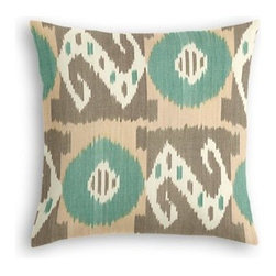 Aqua & Taupe Ikat Grid Custom Throw Pillow - The every-style accent pillow: this Simple Throw Pillow works in any space.  Perfectly cut to be extra fluffy, you'll not only love admiring it from afar but snuggling up to it too! We love it in this turquoise, taupe, and cream handwoven ikat in a modern global geometric grid. Tic tac toe anyone?