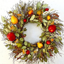 "Frontgate - Fruit and Berry Christmas Wreath - 22"" dia. - Fruit and berry wreath celebrates the season of thanks. Crafted of pears, apples, berries, leaves, dried yarrow and larkspur, and twigs. Use as a centerpiece or hang from the wall or door. Ideal base for candles, decorative pumpkins, and punchbowls. For use indoors or covered outdoor areas. Our Fruit and Berry Wreath is a celebration of harvest and cornucopia of autumn color! A thicket of berries is scattered among rich red apples, golden pears, and dried fall foliage to welcome the season of thanks. Hang on the wall or door to brighten fall festivities or create a decorative centerpiece for candles, pumpkins, and candy dishes. A beautiful accent piece for indoor and protected outdoor spaces. Choice of two sizes.  .  .  .  .  . Frontgate exclusive . Two size choices . Made in the USA."