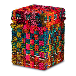 "Kathy Kuo Home - Kotani Chindi Rope Fabric Colorful Trunk Side Table- Small - A wire frame is covered in cotton fabric ""chindi"" ropes to create the Kotani trunk.  Since the ""chindi"" is made from fabric remnants, each trunk is truly unique and one of a kind.  It's intriguing texture and repeated striped pattern are designed to warmly accent a space"
