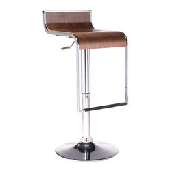 "LexMod - LEM Piston Style Bar Stool in Walnut - The LEM Bar Stool has sleek lines and would be equally impressive in a restaurant or at home. It features a sturdy chrome steel frame with hydraulic piston and lever for height adjustment from 27"" - 31"". Perfect for entertaining guests at your own bar at home, or for stylish seating around the counter."