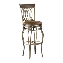 Hillsdale Furniture - Hillsdale Montello Swivel 28 Inch Counter Height Stool - Drama and style are defined in Hillsdale Furniture's Montello dining ensemble. Sweeping interlocking circles, intricate complimentary castings and elegantly curved legs combine to create a collection with grace, movement and elegance. Available in both counter and bar heights and with 360 degree swivel. Finished in a dynamic old steel with distressed brown faux leather seats and wood accents.