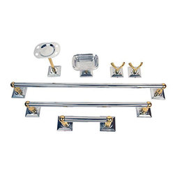 Moen - Moen Monaco Chrome Polished Brass 7-piece Bath Accessory Kit - This chrome polished brass seven-piece accessory kit will stylishly hold bath necessities. With its quick and easy installation and brushed chrome finish, this accessory kit is perfect for no-fuss homeowners. The concealed mounting hides any bolts.