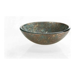 "Xylem Group - 16.5"" Reflex Vessel Sink - Blue/Copper Storm - Reflex Vessel Sink - Blue / Copper Storm"