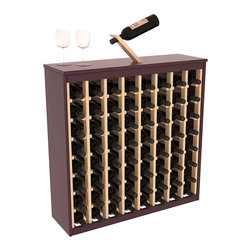 Two Tone 64 Bottle Deluxe Wine Rack in Pine with Burgundy/Natural Stain - Styled to appear as wine rack furniture, this wooden wine rack will match existing decor while storing 64 bottles of wine. Designed to look like a freestanding wine cabinet, the solid top and sides promote the cool and dark storage area necessary for aging wine properly. Your satisfaction and our racks are guaranteed.  All Two-Tone racks include a professional grade eco-friendly satin finish and come with a free matching magic bottle balancer.