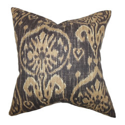 "The Pillow Collection - Yetta Ikat Pillow Brown 18"" x 18"" - Add this unique accent pillow to your interiors and create a traditional-inspired decor style. This ikat print throw pillow features deep shades of brown. Ideal for your bedroom, living room and lounge area, this toss pillow coordinates well with solids and other patterns. Constructed with 100% high-quality linen material. Hidden zipper closure for easy cover removal.  Knife edge finish on all four sides.  Reversible pillow with the same fabric on the back side.  Spot cleaning suggested."