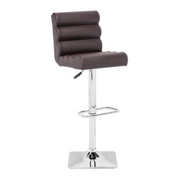 ZUO - Nitro Barstool - Espresso - Funky padded rolls make the Nitro Barstool fun and comfortable. It has an adjustable height chrome base with a footrest. Comes in black, white, or gray.