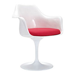 """LexMod - Lippa Dining Armchair in Red - Lippa Dining Armchair in Red - The Lippa Side Chair adds the perfect modern classic touch to any dinning space. Sturdy, easy to clean and lovely to behold, these chairs elevate a meal to whole new levels of enjoyment. Available in an array of colors, the Lippa Chair makes it easy to express your individual style. Set Includes: One - Lippa Armchair ABS Plastic Seat, Aluminum Base, Cloth Cushions Overall Product Dimensions: 23.5""""L x 27""""W x 33.5""""H Seat Height: 21""""H Armrest Height: 26.5""""H - Mid Century Modern Furniture."""