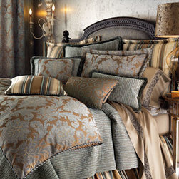 """Legacy Home - Legacy Home King Dust Skirt - Bella bed linens in golden brown and slate blue in brocade, crocodile and striped patterns. Duvet cover, blue/cocoa damask pattern. Reverses to cotton. Dust skirt; 18"""" drop. Damask curtains, lined; rod-pocket style. Include tiebacks. 50""""W. Chenill..."""