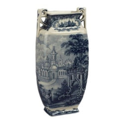"10.5"" Porcelain Transferware Vase - Blue and white transferware vase with handles."