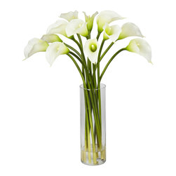 Nearly Natural - Mini Calla Lily Silk Flower Arrangement - The Calla Lily is a centuries old favorite that hails from African origin. The 'simple yet elegant' bulbs are bright and colorful, with large leaves and a thick stem. The Calla Lily is truly a classic beauty, with an understated radiance. Whether it's for a dining room or a study, Calla Lilies will enhance the decor without dominating it. Comes complete with a beautiful vase with faux water.