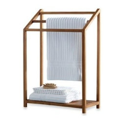 Aqua Art Enterprises, Inc. - Teak Towel Rack - The natural, solid teak structure of this towel rack is both attractive and durable. The open design is a great accent piece in a bathroom, sunroom or indoor garden.