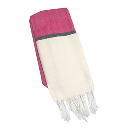 "Abanja - Barek Solid Fouta Pink Towel - The Barek Fouta towel envelops with oversized comfort and classic style. Featuring a bold colorblock motif, the fringed beach accessory's divides pink and beige with a dark gray stripe. 39""W x 73""H; 85% cotton/15% acrylic; Pink, neutral and black"