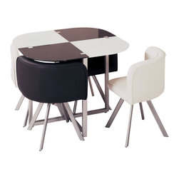 Global Furniture - Global Furniture USA 536 5 Piece Dining Room Set in White & Black w/ Metal Legs - Perfect for smaller spaces and unique in style this compact dining table finished in Black and White with silver accents is sure to enhance your current décor.