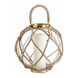 Arteriors Home - Arteriors Home Cormac Glass/Jute/Iron Lantern, Large - Arteriors Home 6988 - Arteriors Home 6988 - Candles not included.
