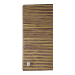 None - Avanity Knox 18-inch Wall Storage Cabinet in Zebra Wood Finish - Zebra wood veneer striping adds rich modern style to this Knox wall cabinet. Accented with a small square brushed nickel knob,this beautiful cabinet features a shelf for storing goods.