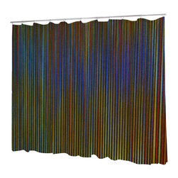 Uneekee - Uneekee Rainbow Stripes Shower Curtain - Your shower will start singing to you and thanking you for such a glorious burst of design as you start your day!  Full printing on the front and white on the back.  Buttonhole openings for shower rings.