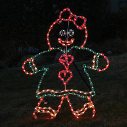 Frontgate - Lighted Outdoor Gingerbread Girl - Outdoor Christmas Decorations - Durable, rust-resistant powdercoated steel frame. Lights are securely hand-wound around frame. Mount to a structure or stake in ground. Polymer UV-coated domes shield lights from damage and fading. Stakes included. This Lighted Outdoor Gingerbread Girl transforms your outdoor lawn into a candy land fantasy that will get noticed from afar. The super-bright sculpture is crafted by a company who specializes in commercial lighted displays.. . . . . UL approved. 4 ft. cord. Residential or commercial use.
