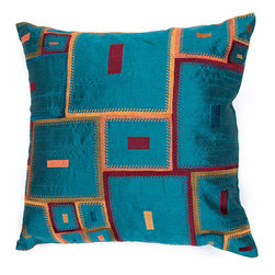 Jaipur - Portabella Blue and Red 18-Inch Square Pillow - - Inspired by the bohemian European craft techniques of the 60�s this funky range of pillows in poly dupione use rich jewel tones expressed in a highly textural and fun way. Perfect for a touch of retro glamour in your home  - Cleaning and Care: Remove the throw pillow's cover if it is removable. Wash the cover separately from the pillow. Pre-treat badly soiled or stained areas on the pillow cover with a color-safe prewash spray. Rub the spray into the stain with a damp sponge. Wash the pillow cover or the whole pillow on a gentle-wash cycle in warm water with a very mild detergent. Detergent for delicate fabrics or baby clothes is usually suitable. Remove the pillow or pillow cover as soon as the washing machine has ended the cycle and has shut off. Hang the pillow or cover up to dry in a well-ventilated area. If the care label specifies that the item is dryer-safe place the pillow or pillow cover in the dryer and tumble dry on low heat. Fluff the pillow once it is dry in order to maintain its form. Don't use the pillow until it is completely dry. Damp pillows will attract dirt more easily  - Construction: Handmade  - It is Sustainable Jaipur - PLC100105