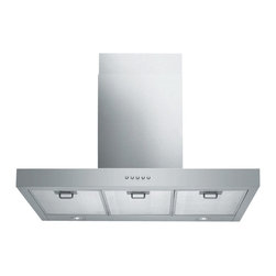 """Spagna Vetro - SPAGNA VETRO 36; SV198Z-36 Wall-Mounted Stainless Steel Range Hood - Mounting version - Wall Mounted 860 CFM centrifugal blower  Three-speed mechanical, soft-touch push button control panel Two 35W halogen lights (Type: GU-10)  Aluminum multi-layers micro-cell dishwasher-friendly grease filter(s) Machine crafted stainless steel (brushed finish) 6"""" round duct vent exhaust and back draft damper  Convertible to duct-free operation (requires optional charcoal filter) Telescopic flue accommodates 8ft to 9ft ceilings (optional flue extension available for up to 10ft ceiling)  Full Seamless Stainless Steel For residential use only, one-year limited factory warranty"""