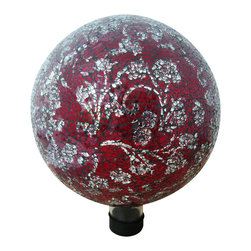"Alpine Corporation - 10"" Mosaic Glass Gazing Globe with Flower Pattern - Red - Liven up your outdoors with our amazing gazing globe collection for an enchanting and colorful display. Use them as an accent to your patio or move them out in to the garden to creat a perfect centerpiece for your favorite outdoor setting."