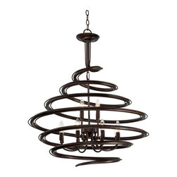 """Franklin Iron Works - Contemporary Franklin Iron Works™ Bronze 30 3/4"""" Wide Swirl Chandelier - An artistic swirl encircles the twelve lights of this dynamic chandelier. Constructed of iron in bronze finish its energetic design will bring a new look to your room decor. Ideal for dining rooms or foyers or high-ceiling living rooms and bedrooms. A great look for any part of your home. Iron construction. Bronze finish. 30 3/4"""" wide. 34"""" high. Takes twelve 60 watt candelabra bulbs (not included). Includes 6 feet of chain 12 feet of wire.Canopy is 6"""" wide. Hang weight is 23 pounds.  Iron construction.  Bronze finish.  30 3/4"""" wide.  34"""" high.  Takes twelve 60 watt candelabra bulbs (not included).  Canopy is 6"""" wide.  Includes 6 feet of chain 12 feet of wire.  Hang weight is 23 pounds."""