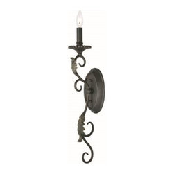World Imports - World Imports Angela Traditional Wall Sconce X-991626IW - This World Imports Angela Traditional Wall Sconce is truly a dramatic piece. It has a frame in a wrought iron finish highlighted in gold with gracefully flowing scrollwork, delicate leaf details and a metal candle sleeve. It's a wonderful, 27-inch-tall piece that's sure to stand out against any wall.