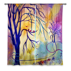 """DiaNoche Designs - Window Curtains Lined by Ruth Palmer The Landing Place - DiaNoche Designs works with artists from around the world to print their stunning works to many unique home decor items.  Purchasing window curtains just got easier and better! Create a designer look to any of your living spaces with our decorative and unique """"Lined Window Curtains."""" Perfect for the living room, dining room or bedroom, these artistic curtains are an easy and inexpensive way to add color and style when decorating your home.  This is a woven poly material that filters outside light and creates a privacy barrier.  Each package includes two easy-to-hang, 3 inch diameter pole-pocket curtain panels.  The width listed is the total measurement of the two panels.  Curtain rod sold separately. Easy care, machine wash cold, tumble dry low, iron low if needed.  Printed in the USA."""