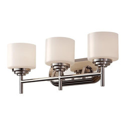 Feiss - Feiss Malibu Three Light Polished Nickel Opal Etched Glass Bathroom Sconce - This Three Light Bathroom Sconce is part of the Malibu Collection and has a Polished Nickel Finish and Opal Etched Glass. It is Damp Rated.
