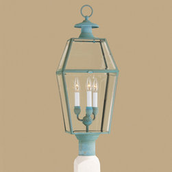 Norwell Lighting - Olde Colony Outdoor Post Mount - Olde Colony Outdoor Post Mount is available in a Verde or Black finish with Beveled glass. Three 60 watt, 120 volt B10 type Candelabra base Incandescent lamps are required but not included. 11 inch width x 29.5 inch height.