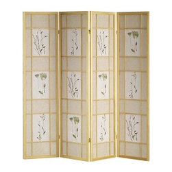 ORE International - 4 Panel Folding Shoji Pinewood Screen w Flora - Floral print. Rice paper panels. Made from solid Pinewood. 60 in. L x 10 in. W x 70 in. H (15 lbs.)Bring an element of Asian inspiration to your home's decor with this innovative folding Shoji screen. Enhanced by botanical prints with ivory backdrops, the screen is a pretty and practical way to add color and architectural interest to your interior design.
