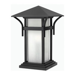 Hinkley Lighting - Hinkley Lighting HK-2576SK-LED Harbor Outdoor - Harbor has an updated nautical feel, with a style inspired by the clean, strong lines of a welcoming lighthouse. The cast aluminum and brass construction is accented by bold stripes against the seedy glass.