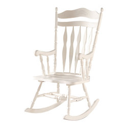 Monarch Specialties - Monarch Specialties 1525 Rocking Chair in Antique White - Whether your are a new mom looking to sooth a baby or just want place to sit and relax, this country styled white wooden rocking chair will be a lovely addition to your home. This high back rocker has a shaped top splat with detailed floral carvings and is finished in a rich white finish. Soft curved arms frame the seat, with turned spindle supports. Turned legs above the wood rocker base complete this charming country style look giving it the perfect touch of a warm traditional look.