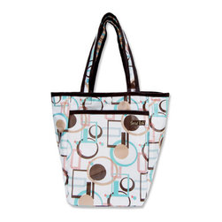 """Trend Lab - Diaper Bag - Cocoa Dots Mini Tote - Trend Lab's Mini Tulip Tote is the perfect on-the-go accessory for quick outings where a large diaper bag is unnecessary. It's perfect for short shopping trips and can hold a bottle, diapers, wipes and other small necessities! Or use this wonderful bag as a toy bag, beach bag, lunch tote, or cosmetic bag. This Mini Tulip Tote allows you to conveniently pack the essentials and go!. Cocoa Dots Mini Tulip Tote features modern geometric circles and squares in pool blue, wheat, chestnut, salmon pink, and chocolate on a white base with a stripe print trim and lining. Bag features a laminated exterior for easy clean up and durability, a snap closure and one exterior pocket. Bag measures 7"""" x 9 1/2 """" x 4"""" and features two handles measuring 16 1/2 """" in length."""