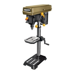 "Rockwell - 10In Drill Press 1/2In Chuck - 2/3 HP induction motor for dependable performance. 5-speed setting for best results in metal, wood or plastic. Rack and pinion table height adjustment. 2"" spindle travel; 1/2"" chuck. Table bevels 0 to 45 degrees left and right. Keyed safety switch prevent  s accidental starting. Includes 1 chuck key and 1 allen key. Weighs 55.5 lbs.        This item cannot be shipped to APO/FPO addresses.  Please accept our apologies"