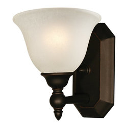 Z-Lite - Z-Lite Clayton Bathroom Light X-V1-409 - Give your home a touch of stately elegance with the classic Clayton lighting family. The simple detailing and clean lines of this one light vanity fixture is finished in bronze with an antique ivory glass shade.