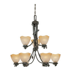 Designers Fountain - Designers Fountain Timberline Traditional Chandelier X-BO-98659 - From the Timberline Collection, this Designers Fountain chandelier features traditional style and nature-inspired elements that are sure to please and delight. The fluid design features a dark toned Old Bronze hue complimented by nine beautiful ochere glass shades that pull the look together.