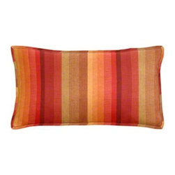 "Cushion Source - Sunbrella Astoria Sunset Outdoor Lumbar Pillow - The 20"" x 12"" Sunbrella Astoria Sunset Outdoor Lumbar Pillow features various stripes in warm shades of reds and oranges."