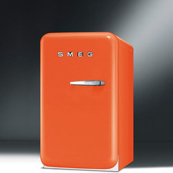 Frontgate - SMEG 50s Style Mini Refrigerator - 50's Retro style mini refrigerator with 1.5 cu ft. capacity. Automatic defrost for easy maintenance. LED internal light to view contents. 2 adjustable shelves. Door storage includes 1 balcony shelf, 1 bottle shelf. The 50s style mini fridge is a complementary addition to retro decor and keeps food chilled to desired temperatures. Emphasizing rounded contours and sleek lines, this mini refrigerator boasts 1.5 cubic ft. of storage space containing adjustable shelves, door storage, and a freezer compartment holding favorite frozen confections. Available in assorted colors that range from neutral shades to bold tones! Lightweight and portable at 51 lbs.  .  .  .  .  . Freezer compartment . Lightweight and portable at 51 lbs. . Imported.