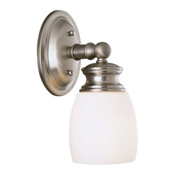 Savoy House - Elise Bath 1-Light Sconce - Coordinating satin nickel bath fixture - effortless, easy style with opal frosted glass