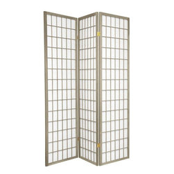 Oriental Furniture - 6 ft. Tall Window Pane - Special Edition, Grey, 3 Panel - The popular Window Pane Shoji Screen is now available in a special edition run of beautiful new colors! The fiber-reinforced Shoji rice paper offers privacy while allowing diffused light to filter through, and the Scandinavian spruce frame is both durable and lightweight. This special edition won't last forever, so pick your favorite color today while supplies last!