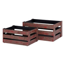 Benzara - Wood Crate 20in., 16in.W with Rustic Finish - Set of 2 - Space efficient and spacious, these wood crates are designed to meet your storing needs. These space efficient crates can be used as storage bins, shelves and even footstools. You may store these wooden crates under bed or in any corner as they consume fairly less space. Featuring a neat and astute design, these crates accommodate lots of unwanted petty materials. Its red color augments the crate's overall design. While the wooden crates are quite functional to store miscellaneous items, you can also use them to complement your furnishing. The crates are self supported and do not need a pedestal when placed on smooth surfaces. Made from premium quality wood, the crates feature a sturdy construction and showcase a prolonged shelf life. A perfect gifting item, you can present these crates to your family and friends.