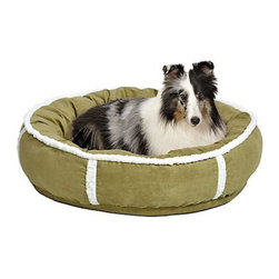 Mid-West Homes for Pets - MidWest Quiet Time Rondelle Pet Bed - 40275-FPS - Shop for Beds Covers and Fill from Hayneedle.com! The Midwest Quiet Time Rondelle Pet Bed is the ultimate nesting bed and is ideal for both cats and dogs. Made from ultra-soft faux suede this comfortable bed features an overstuffed bolster with an extra-thick cushioned base and elegant soft fleece trim. Available in two sizes it is available in three color options to complement any home decor. This bed is machine washable for convenient cleaning.Dimensions:Small: 21 inches roundLarge: 28 inches roundAbout Mid-West Metal Products/Midwest Homes for PetsIn 1921 Mid-West Metal Products made only one item a Kruse Switch Box Support and over the years began manufacturing millions of wire and sheet metal component parts. By 1960 they were producing training crates for pets. Today Midwest Homes for Pets a division of Mid-West Metal Products produces and markets a variety of pet containment products. These products include dog crates training puppy crates dog kennels cat playpens bird cages vehicle barriers soft-sided carriers grooming tables and much more. They also manufacture a full line of pet accessories like beds and feeding dishes.